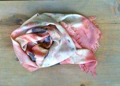 Pink silk scarf ecoprint plant dyed handmade by dyeing2meetU, €55.00