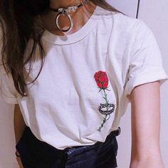 Aliexpress.com: Comprar 2016 Verano Nueva Moda Halajuku Flor Color de Rosa Impresa Corto Manga Femenina de La Camiseta de equipos de serigrafía de la camiseta fiable proveedores en Eyam Fashion
