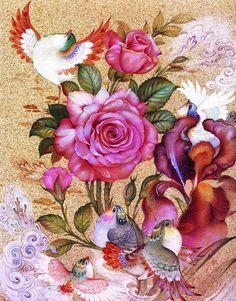 کارت پستالها و نقاشی های سنتی با طرح گل و مرغ - صفحه 4