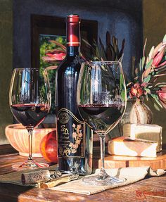 Still life with some of my favorite things: wine, cheese and flowers. -- by Eric Christensen Art