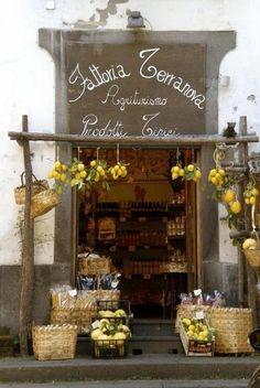 Fattoria Terranova, Positano, Italy Remember Positano from Under the Tuscan Sun? Vitrine Design, Terra Nova, Store Front Windows, Vintage Bakery, Deco Restaurant, Lovely Shop, Cafe Shop, Shop Fronts, Amalfi Coast