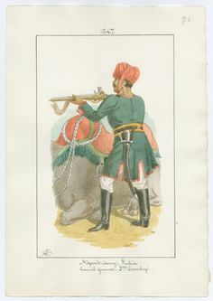 British; Nizam's Army, 3rd Cavalry, Camel Gunner 1847. The Nizams of Hyderabad, ruled the richest of the independent Kingdoms during the period of the Raj and often provided troops to assist the British, normally guarding lines of supply. Picture by Charles Lyall