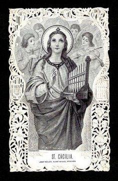 Santa Cecilia, Catholic Saints, Roman Catholic, Vintage Holy Cards, Form Drawing, Crystal Magic, Prayer Cards, Mustard Seed, Musical