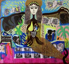 Victor Tricar- SIRENA / Acrylic - collage on wood - 2015