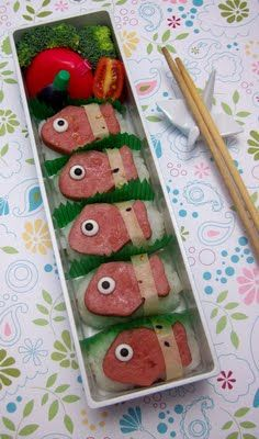 Fish. Definitely want to make my own version of this! Love the idea of packing chopsticks in Jillians lunchbox!