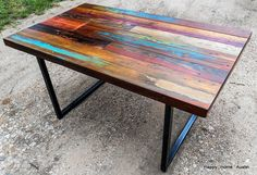 Custom Reclaimed Salvaged Wood Dining Table With Paint And Patchwork Stains