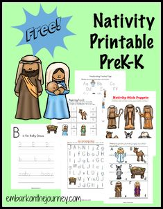 Embark on the Journey has a fun little FREE Nativity-themed PreK learning pack. This free printable pack will keep your PreK-K kiddos e Preschool Christmas, Preschool At Home, Christmas Activities, Kids Christmas, Preschool Printables, Preschool Themes, Happy Birthday Jesus, Bible Lessons For Kids, Nativity Crafts