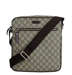 42f1e682d8b8 Gucci Mens Briefcase Beige Ebony Diamante Black Leather Trim 267890 ...