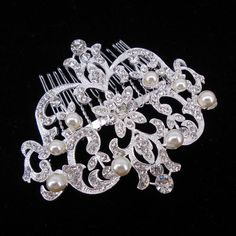 10x7cm Big Art Deco Vintage Wedding Bridal Bridesmaid Pearl Crystal Hair comb