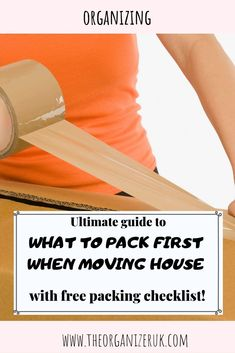 moving tips - - Learn what to pack first when moving, free home move checklist, practical tips and help for moving house, essential supplies for moving house. Moving House Boxes, Moving House Tips, Moving Costs, Moving Home, Moving Day, Moving Tips, Moving Hacks, Packing To Move, Packing Tips For Vacation
