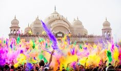 must go! festival of colors in spanish fork, utah. during the event, every two hours there's a countdown and then colored powder gets thrown in the air. fun!