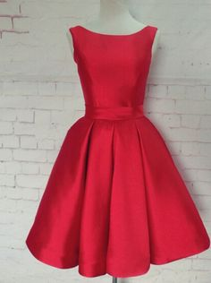 A-line Scoop Red Homecoming Dress with Ribbon, Short Prom Dress, Red Homecoming Dress, Short Homecoimg Dress, Party…