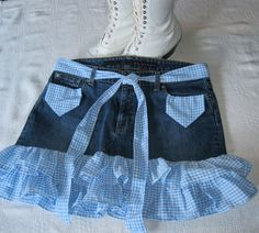 One of a kind upcycled jean denim skirt with blue & white gingham ruffles. $36.00, via Etsy.