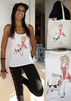 ALICE BRANDS egyedülálló Dog Breed tervez a mesés minőségű női felsők, pólók és most a Tote táskák is. Alice a Beagle látható. etsy.com/uk/shop/AliceBrands ... Itt teljes körű at www.alicebrands.co.uk
