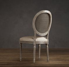 Vintage French Cane Back Round Upholstered Side Chair Fabric Arm