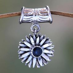 Artisan Crafted Floral Sterling Silver and Sapphire Pendant - September Aster | NOVICA