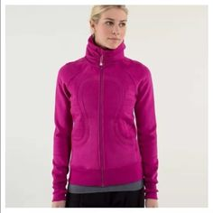 ff3134e9 Lululemon calm & cozy jacket gorgeous raspberry colored zip up jacket size  12 lululemon athletica Sweaters