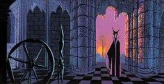 Eyvind Earle Sleeping Beauty Concept Art ~ Maleficent and the spinning wheel
