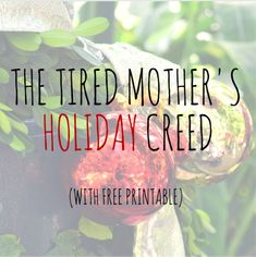 The Tired Mother's Holiday Creed via lisajobaker.com-- For the days we're sure anyone else would do this job better. Host this family more calmly. Have a house more presentable. For those days. For those holidays. You know the ones.