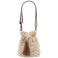 Bolsa saco crochê - bege