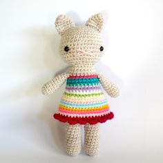 stuffed plush toy cat kitten amigurumi crochet kitten by rosieok, $35.00