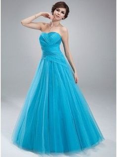 Ball Gown Sweetheart Floor Length Tulle Prom Dress With Ruffle Beading