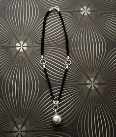 Ball Necklace Leather Silver ball pendant Leather by KRAMIKE