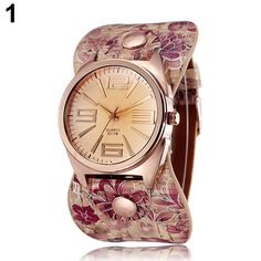>> Click to Buy << Hot Sales 2015 New Hot New And Fashion Women's watch Rose Golden Floral Faux Leather Wide Band Analog Quartz Wrist Watch #Affiliate