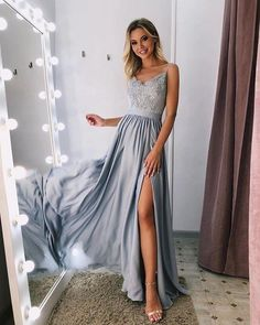 A-line Spaghetti Straps Gray Lace Prom Dress With Silt Long Unique Formal Dress #AMY3230