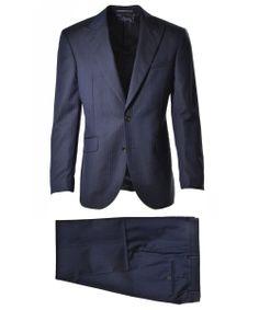 Navy Herringbone Peak Lapel Suit