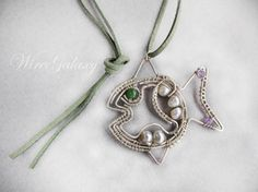 Fish Pendant with white pearls/ wire wrapped by WireGalaxy on Etsy