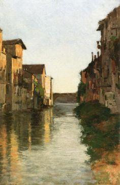 Canal Scene (Vincenzo Cabianca)