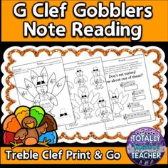 Thanksgiving Music Activities - turkey themed worksheet printables for your music students to assess their knowledge of reading the notes on the lines and spaces of the treble clef - FACE/EGBDF. ****This file is included in my Note Reading Through the Seasons ******Print out for individuals or proj...
