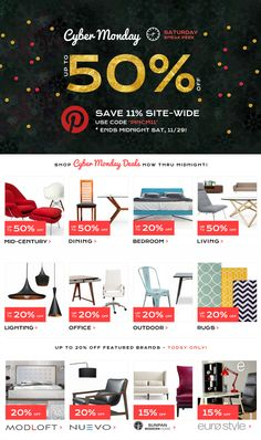 One Day Only Pinterest Exclusive Sneak Peek at Cyber Monday! Use Coupon Code 'PINCM11' to Save 11% at Inmod - Expires Midnight, Saturday, 11/29! Home Design Decor, House Design, Fb Share, Mid Century Dining, Office Lighting, Christmas And New Year, Light Decorations, Outdoor Rugs, Cyber Monday