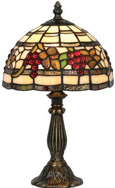85b09005b873 Rustic Grape Vine 200mm Small Tiffany Table Lamp