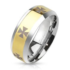 Biker Ring Herrenring Gold Silber mit Eisernem Kreuz
