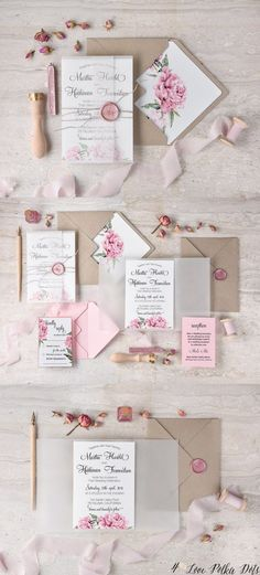 Vintage pink watercolor wedding invitations #pinkwedding