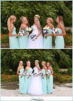 David's Bridal bridesmaids sparkly and strapless teal bridesmaid dresses from David's Bridal