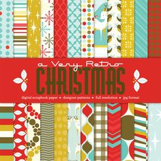 cute retro christmas digital scrapbook paper