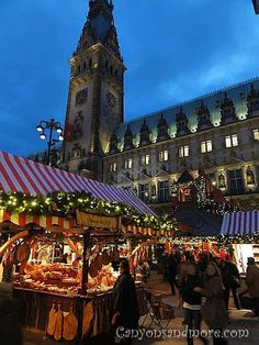Christmas Market at the City Hall Square, Hamburg, Germany