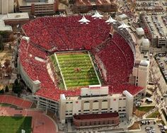 Memorial Stadium, Lincoln, Nebraska, home of the Cornhuskers. On game day, it's a sea of red!