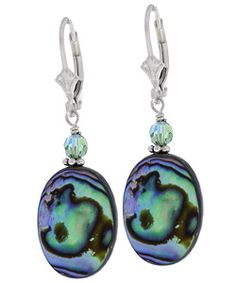 @Overstock - This luscious Paua shell has a blue-green iridescence  Expertly hand-wrapped onto a sterling silver leverback ear wire  Jewelry topped with petite Swarovski crystalshttp://www.overstock.com/Jewelry-Watches/Charming-Life-Rainbow-Paua-Shell-Earrings/2558285/product.html?CID=214117 $19.99