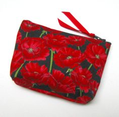 Coin purse, Mini coin purse, Small coin purse, Small zippered coin purse, Zipper coin purse, Wallet, Poppies