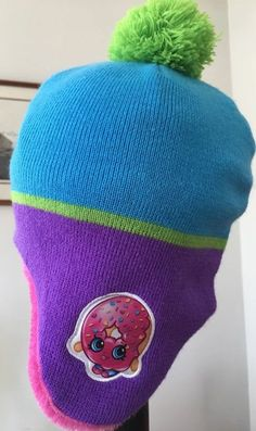 0d83ea5203d Shopkins Knit Beanie Hat Cap Purple Winter D lish Donut Girls One Size NWOT   fashion  clothing  shoes  accessories  kidsclothingshoesaccs   girlsaccessories ...