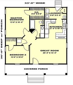Cabin Style House Plan - 2 Beds 1 Baths 1007 Sq/Ft Plan #44-158 Main Floor Plan - Houseplans.com