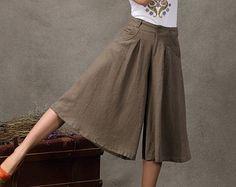 modest culottes | Khaki Loose Bohemian Style Culottes Linen Pant ...