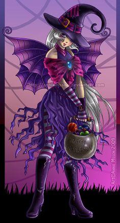 Halloween Witch Fairy by *AnnieMsson on deviantART Purple Halloween, Halloween Art, Vintage Halloween, Happy Halloween, Halloween Witches, Fantasy Witch, Witch Art, Fantasy Art, Witch Pictures