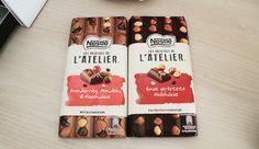 Les Recettes de l'Atelier von Nestle - Hier probierte Sorten:  Ganze geröstete Haselnüsse in Zartbitterschokolade Cranberries, Mandeln & Haselnüsse in Milchschokolade