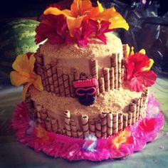 Luau Cake.Love the choco roll around the cake.