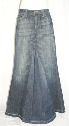 Women's Long Dark Denim Jean Skirt Recycled Faded Upcycled Modest Size 7 8 10 ModestSwimming on Etsy